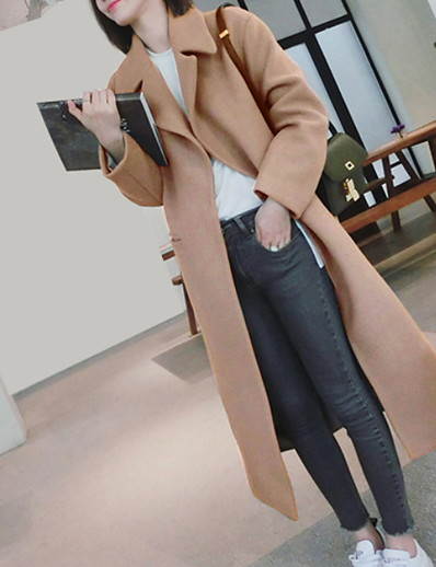 cheap OUTERWEAR-Women's Daily Fall & Winter Long Coat, Solid Colored Notch Lapel Long Sleeve Polyester Black / Green / Gray