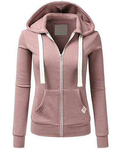 cheap OUTERWEAR-Women's Basic Hoodie - Solid Colored Black S