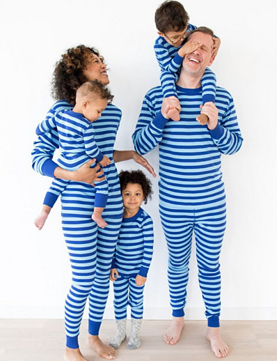 cheap Family Matching Outfits-Daddy and Me Striped Christmas Clothing Set Blue