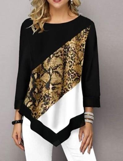 abordables HAUTS-Tee-shirt Femme, Léopard Noir
