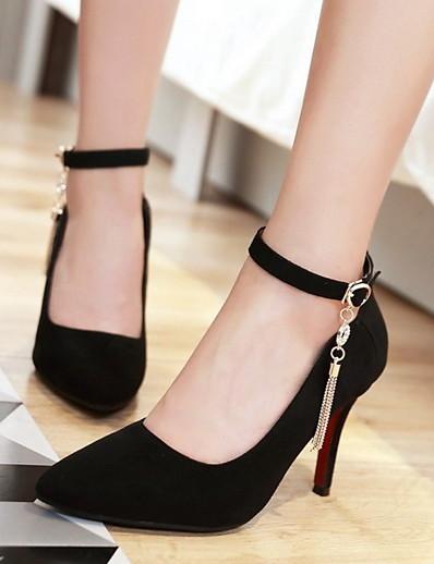 cheap SALE-Women's Heels Stiletto Heel Pointed Toe Suede Fall & Winter Black / Almond / Green