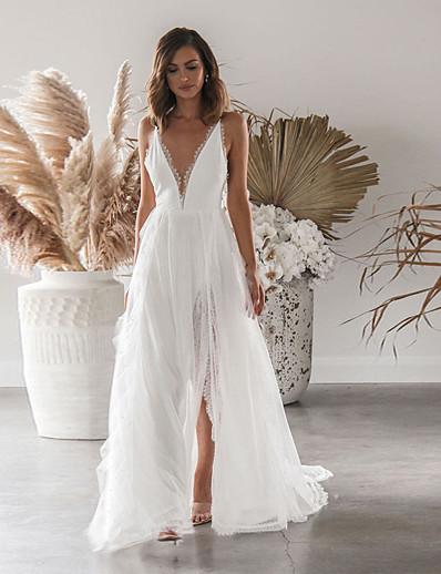cheap Special Occasion Dresses-Women's Sheath Dress - Solid Colored Lace Split Patchwork White S M L XL