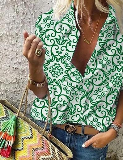 cheap Tops-Women's Daily Shirt - Floral Shirt Collar Black