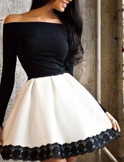 cheap Elegant Dresses-Women's A Line Dress - Solid Colored Off Shoulder White S M L XL