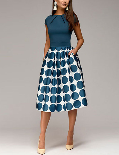 cheap Midi Dresses-Women's 2020 Red Blue Dress 1950s Elegant Spring & Summer Going out A Line Sheath Swing Polka Dot Geometric Print Ruched Patchwork Print S M