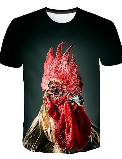 cheap Men's 3D-Men's T shirt Shirt Color Block 3D Animal Print Short Sleeve Going out Tops Streetwear Punk & Gothic Round Neck Army Green / Summer / Club