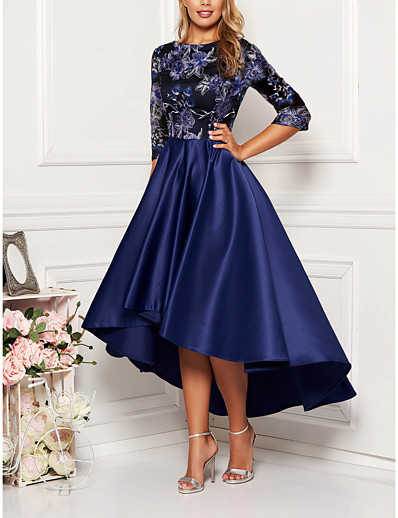 cheap Party Dresses-Women's Cocktail Party Homecoming Elegant & Luxurious Swing Dress - Geometric Print Spring Navy Blue M L XL XXL