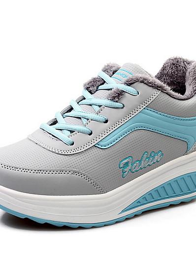 cheap Sneakers-Women's Sneakers Flat Heel Round Toe PU Fall & Winter Black / Blue / Pink