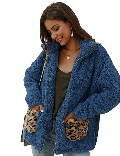 cheap Furs & Leathers-Women's Teddy Coat Long Leopard Print Daily Blue Camel Beige S M L XL
