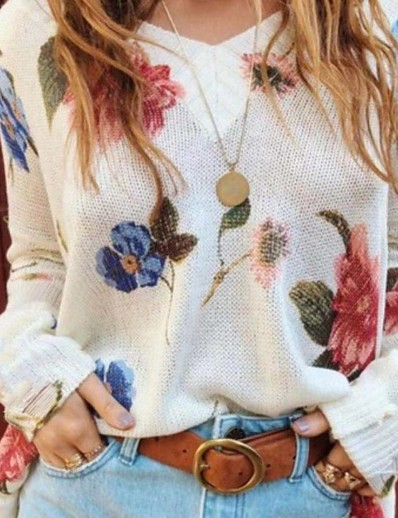 cheap Sweaters & Cardigans-Women's Floral Long Sleeve Pullover Sweater Jumper, V Neck White / Purple / Blushing Pink S / M / L