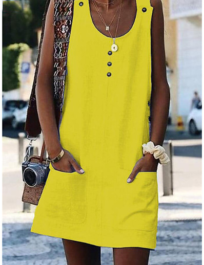 cheap Summer Dresses & Boho-Women's Mini Yellow Fuchsia Dress Beach Shift S M