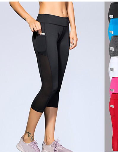 cheap Running, Jogging & Walking-YUERLIAN Women's Running Capri Leggings Compression Pants Sports & Outdoor 3/4 Tights with Phone Pocket Pocket Spandex Yoga Fitness Gym Workout Running Bodybuilding Breathable Sweat wicking Sport