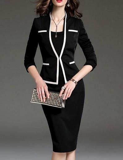 cheap SALE-Women's Two Piece Dress - Long Sleeve Solid Colored V Neck Elegant Black Navy Blue S M L XL XXL XXXL XXXXL XXXXXL XXXXXXL