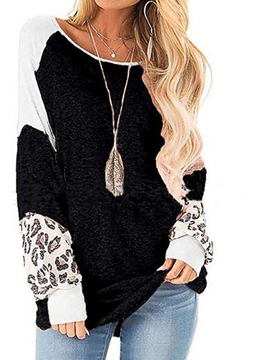 cheap Hoodies & Sweatshirts-Women's Casual Sweatshirt - Leopard Black S