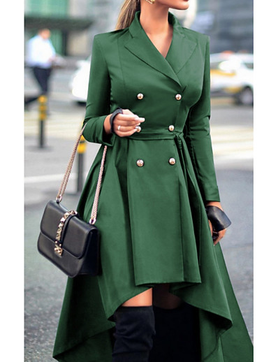 cheap New in-Women's Daily Fall & Winter Long Trench Coat, Solid Colored Turndown Long Sleeve Polyester Purple / Red / Green