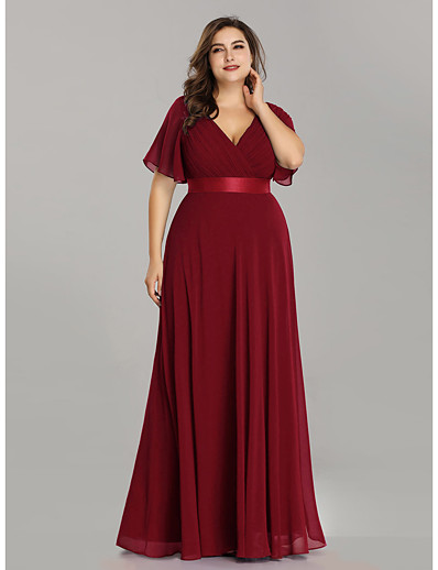 cheap Mother of the Bride Dresses-A-Line V Neck Floor Length Chiffon Short Sleeve Elegant / Plus Size Mother of the Bride Dress with Sash / Ribbon / Ruching 2020 / Petal Sleeve