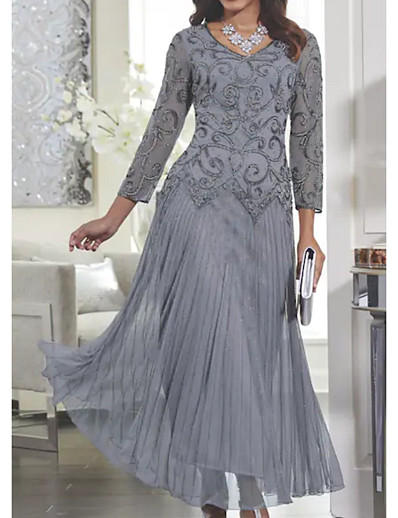 cheap Maxi Dresses-Women's Maxi Slim Swing Dress - Solid Colored Lace V Neck Spring Gray M L XL XXL