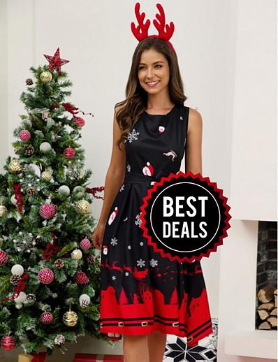 cheap DRESSES-Women's Christmas Party Elegant A Line Dress - Geometric Black White Red S M L XL