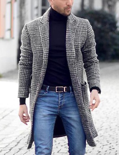 cheap NEW IN-Men's Daily Basic Spring &  Fall EU / US Size Regular Overcoat, Houndstooth Black & Gray Straight Collar Long Sleeve Others Patchwork Gray