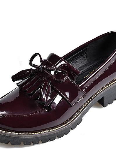 cheap Flats-Women's Flats Flat Heel Round Toe Pigskin Fall & Winter Black / Wine