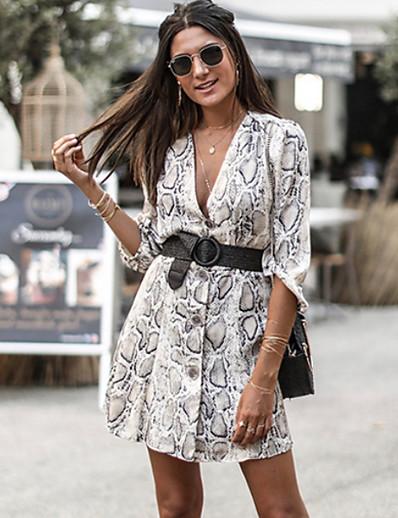 cheap DRESSES-Women's Elegant A Line Dress - Striped Print White S M L XL
