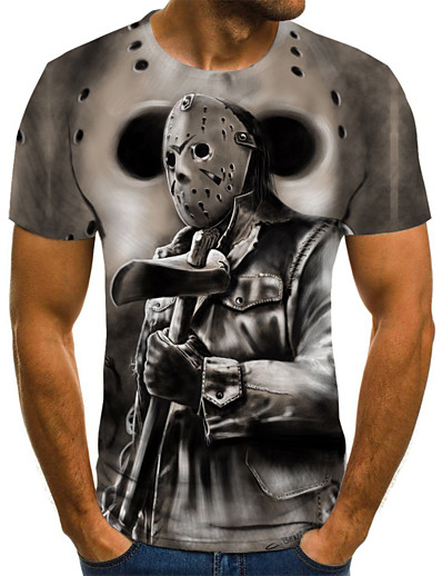 cheap Men's 3D-Men's T shirt Cartoon Color Block 3D Print Short Sleeve Daily Tops Streetwear Punk & Gothic Gray