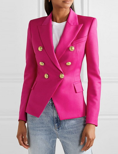 cheap Jackets-Women's Blazer Solid Colored Classic Classic & Timeless Polyester Office / Career EU / US Size Coat Tops White / Notch lapel collar