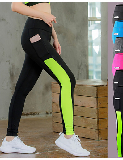cheap Running, Jogging & Walking-YUERLIAN Women's Running Tights Leggings Compression Pants Running Cropped Tights Athletic Tights Leggings with Phone Pocket Side-Stripe Elastane Winter Zumba Fitness Gym Workout Running Tummy