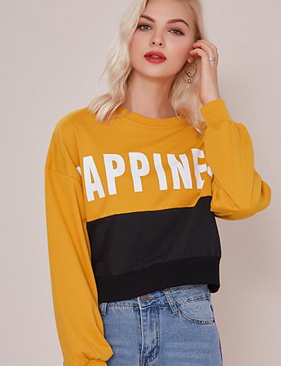 cheap Hoodies & Sweatshirts-Women's Basic Sweatshirt - Color Block Yellow XL