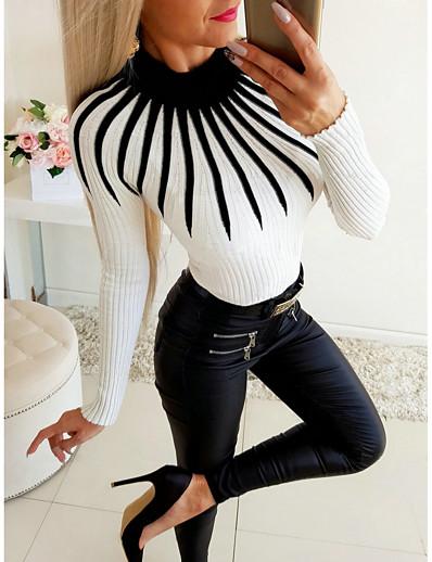 cheap TOPS-Women's Daily Basic Blouse - Color Block Patchwork Black