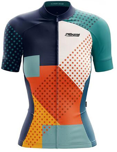 cheap Cycling-21Grams Women's Short Sleeve Cycling Jersey Spandex Polyester Blue+Orange Sky Blue Bike Jersey Top Mountain Bike MTB Road Bike Cycling UV Resistant Quick Dry Breathable Sports Clothing Apparel
