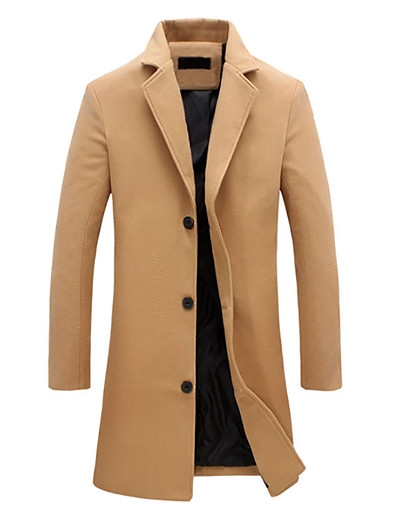 cheap Men's Outerwear-Men's Notch lapel collar Fall Jacket Long Solid Colored Daily Basic Plus Size Fantastic Beasts Long Sleeve Cotton Black Blue Khaki M L XL / Winter / Vintage