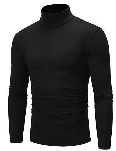 preiswerte Herrenoberteile-herren Solide Pullover Langarm Standard Pullover Cardigans Rollkragen Herbst Winter Weiß Schwarz Königsblau