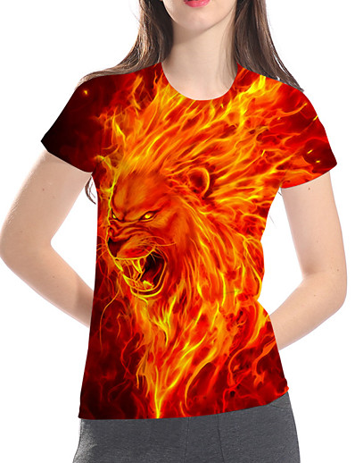 cheap TOPS-Women's Daily Club Basic / Exaggerated Plus Size Loose T-shirt - 3D / Animal / Cartoon Lion, Print Red