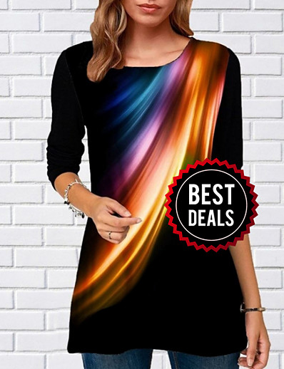 cheap TOPS-Women's Daily T-shirt - Geometric Black