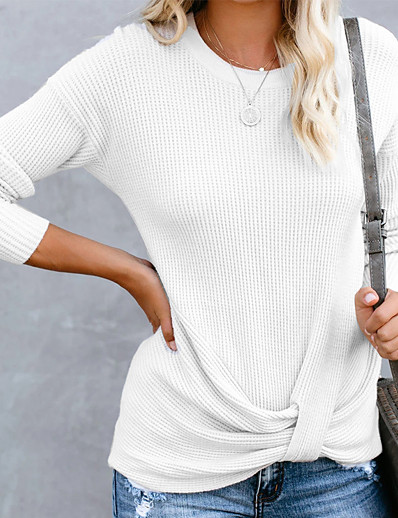 cheap TOPS-Women's Solid Colored Long Sleeve Pullover Sweater Jumper, Round Neck Fall / Winter White / Blushing Pink / Gray S / M / L