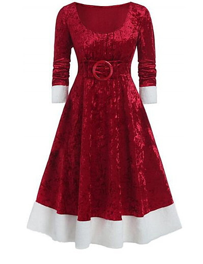 cheap Party Dresses-Women's Purple Red Dress Elegant Christmas Party A Line Solid Colored S M