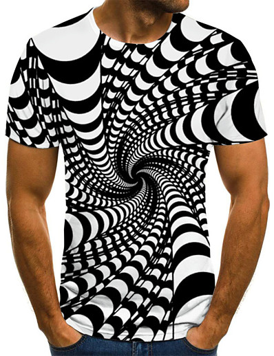 cheap Men's Tops-Men's Daily Going out Street chic / Exaggerated Plus Size T-shirt - Visual Deception Pleated / Print Round Neck Black / Summer / Short Sleeve