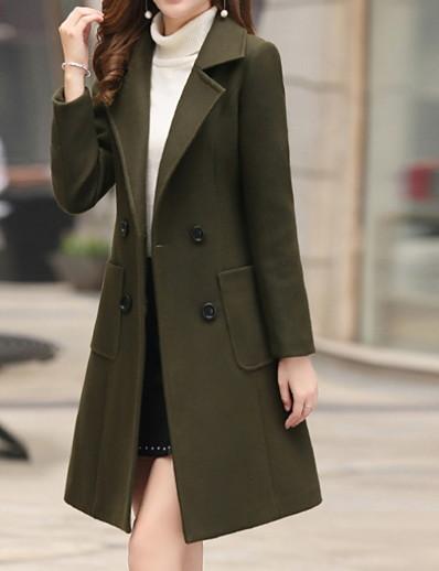 cheap OUTERWEAR-Women's Fall & Winter Notch lapel collar Coat Long Solid Colored Daily Army Green Blue Khaki Brown M L XL XXL