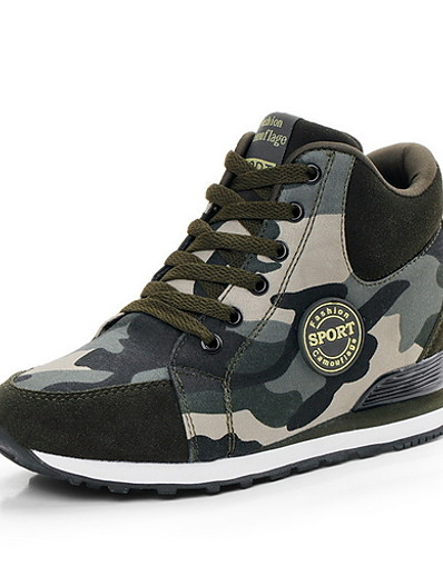 cheap Sneakers-Women's Sneakers Hidden Heel Round Toe Canvas Running Shoes Fall & Winter Green / Camouflage