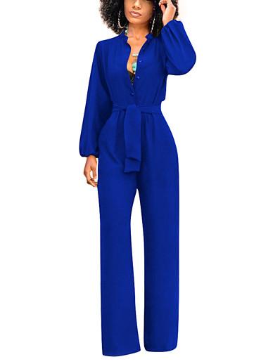 cheap Jumpsuits & Rompers-Women's Black White Royal Blue Jumpsuit, Solid Colored S M L