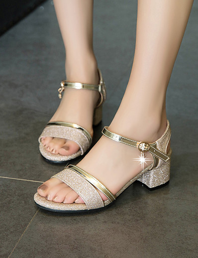 cheap Sandals-Women's Sandals Chunky Heel Peep Toe Buckle PU Minimalism Spring & Summer Gold / Silver / Party & Evening