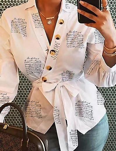 cheap TOPS-Women's Daily Shirt - Letter V Neck White