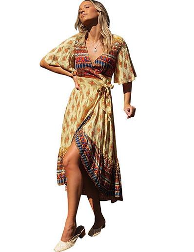 cheap MORE STYLE-Women's A Line Dress - Geometric Orange Blue Green S M L XL