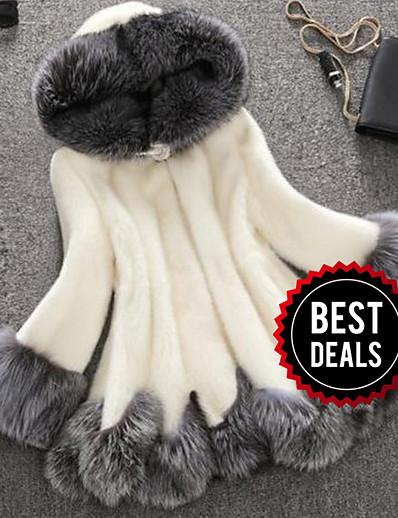 cheap Furs & Leathers-Women's Winter Plus Size Long Faux Fur Coat, Color Block White Hooded Long Sleeve Faux Fur White / Black