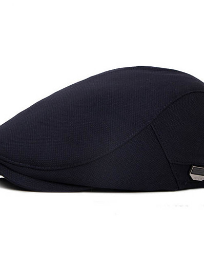 cheap Men's Accessories-Men's Basic Polyester Beret Hat-Solid Colored Fall Black Navy Blue Gray