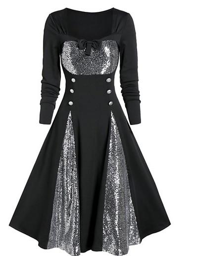 cheap Party Dresses-Women's Black Dress Elegant A Line Color Block Square Neck S M