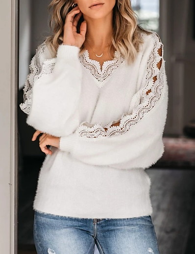 cheap CLOTHING-Women's Solid Colored Long Sleeve Pullover Sweater Jumper, V Neck White M / L / XL