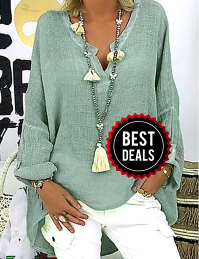 cheap DOWN TO $0.99-Women's Causal Plus Size Loose Blouse - Solid Colored V Neck Black