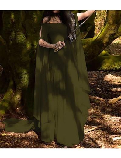 cheap Dresses-Women's Swing Dress Maxi long Dress White Blue Purple Army Green Long Sleeve Butterly Style Fashion Fall Winter Round Neck S M L XL XXL 3XL 4XL 5XL